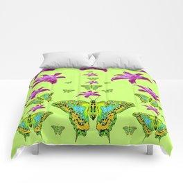 LIME COLOR PURPLE LILIES GREEN MOTHS Comforters