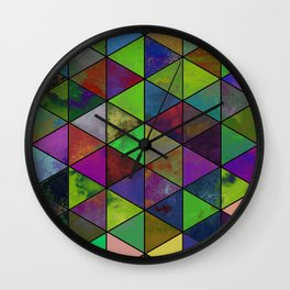Textured Triangulation - Abstract, geometric triangles Wall Clock