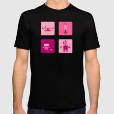 Robots-Pink MEDIUM Black Mens Fitted Tee