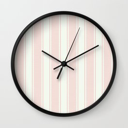 Vintage pastel pink stripes pattern Wall Clock