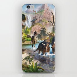 Jurassic dinosaurs in the river iPhone Skin