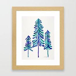 Pine Trees – Navy & Turquoise Palette Framed Art Print