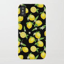You're the Zest - Lemons on Black iPhone Case