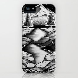 The Path Beyond | Insanely Illustrated Nature Landscape Drawing Art iPhone Case