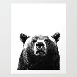 Black and white bear portrait Art Print