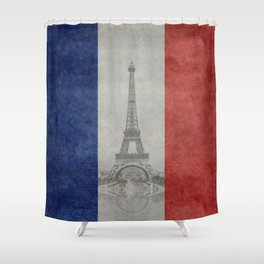 Flag of France with Eiffel Tower Vintage style Shower Curtain