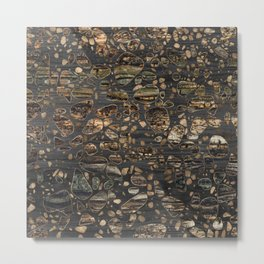 Terrazzo - Mosaic - Wooden texture and gold #5 Metal Print