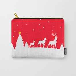 deer family in winter landscape Carry-All Pouch
