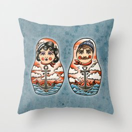 Sailor and his lady (russian dolls) Throw Pillow