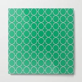 Jade Green Quatrefoil Pattern Metal Print