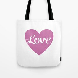 Love Script Pink Heart Design Tote Bag