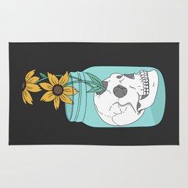 Skull in Jar with Flowers Rug