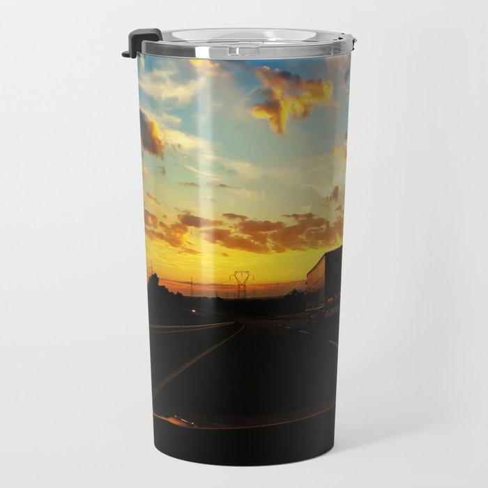 behind a truck Travel Mug