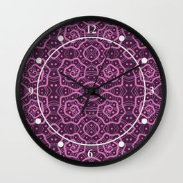 Helices, abstract arabesque pattern, pink & purple Wall Clock