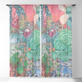 Jungle of Houseplants and Flowers on Bright Coral Pink with Wild Cats Sheer Curtain