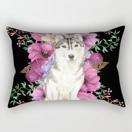 Watercolor Dog Siberian Husky Floral Art Rectangular Pillow