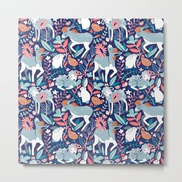 Spring Joy // navy blue background pale blue lambs and donkeys coral and teal garden Metal Print
