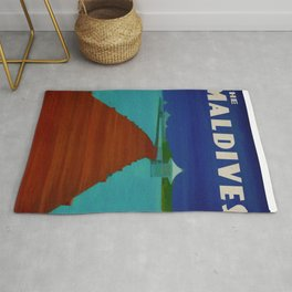 Maldives Travel Poster Rug