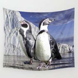 Penguins and Glacier Wall Tapestry