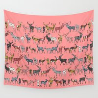 spice Wall Tapestries featuring spice deer blush salmon by Sharon Turner