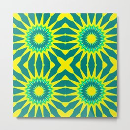 Green & Yellow Pinwheel Flowers Metal Print