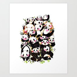 Wild Family Series - Afternoon Tea Panda Art Print