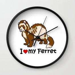 I Heart My Ferret Wall Clock