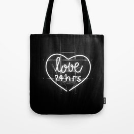 Love 24 Hours (Black and White) Tote Bag