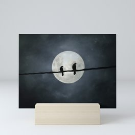 Two Crows In The Light Of A Silvery Moon Mini Art Print