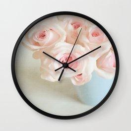Sweet baby pink roses. Wall Clock