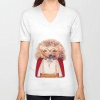 hedgehog V-neck T-shirts featuring Hedgehog by Animal Crew