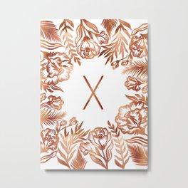 Letter X - Faux Rose Gold Glitter Flowers Metal Print