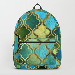 Moroccan Quatrafoil Pattern, Vintage Stained Glass, Blue, Green and Gold Backpack