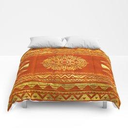 Gold Aztec Calendar Sun symbol Comforters