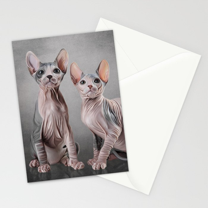 Drawing two cats Sphynx, hairless Stationery Cards