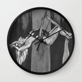 Hanging by a Thread Black and White Wall Clock