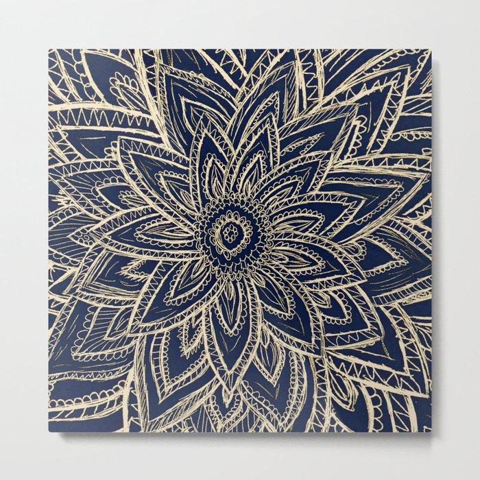 Cute Retro Gold abstract Flower Drawing  geometric Metal Print