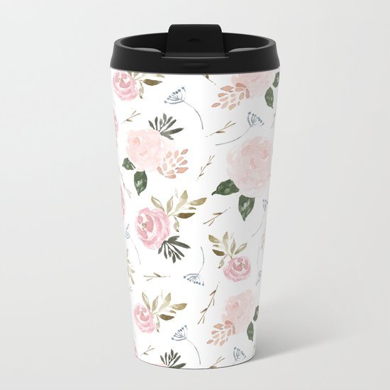 Floral Blossom - Muted Metal Travel Mug