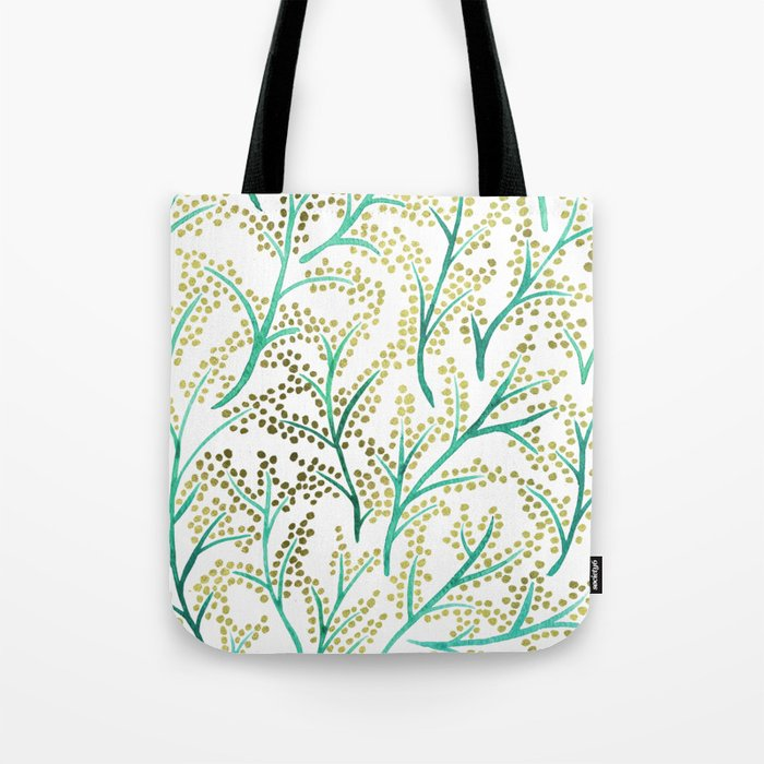 Green & Gold Branches Tote Bag