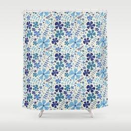 My Little Garden blue & green Shower Curtain