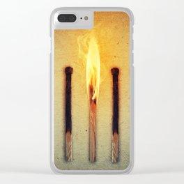 match burning alone Clear iPhone Case