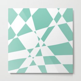Twisted Checkers - Teal/White Metal Print
