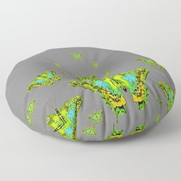 BLUE-GREEN-YELLOW PATTERNED MOTHS ON GREY Floor Pillow