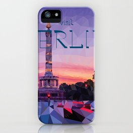 """Low Poly Design Travel Poster """"Berlin Siegessäule"""" iPhone Case"""