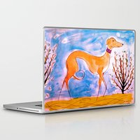 greyhound Laptop & iPad Skins featuring Greyhound by Caballos of Colour