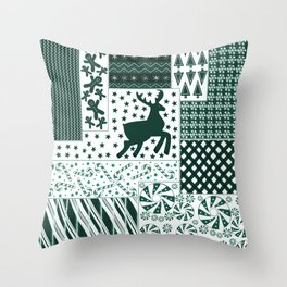 Holiday Green Quilt Design Throw Pillow