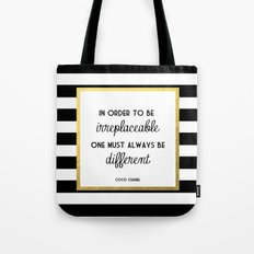 Coco Gold Irreplaceable Fashion Quote Tote Bag