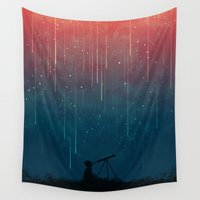 night Wall Tapestries featuring Meteor rain by Picomodi