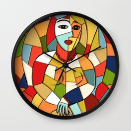 Woman with a Kindle #6 Wall Clock