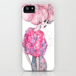 Cotton Candy Hair // Fashion Illustration iPhone Case